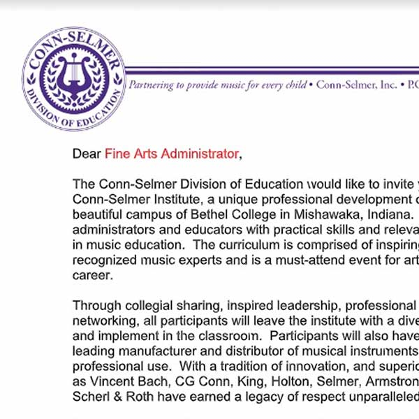 A letter to the Fine Arts Administrator of your school.