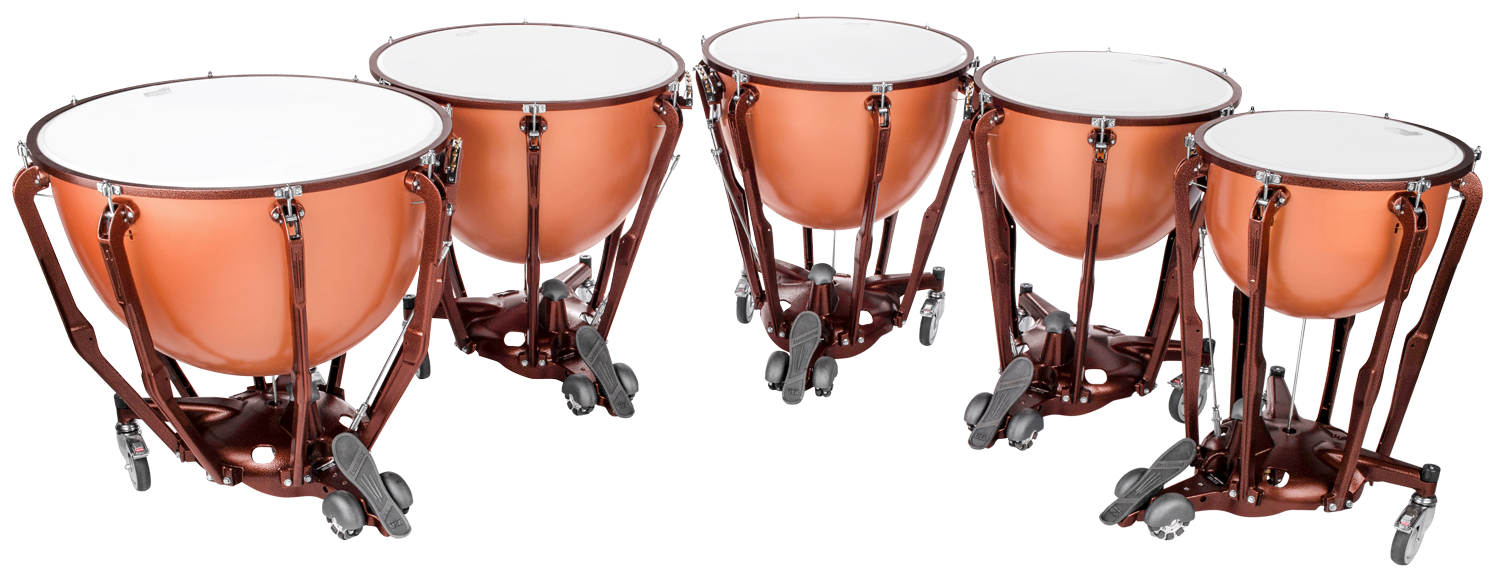 A set of four polished brass timpani drums