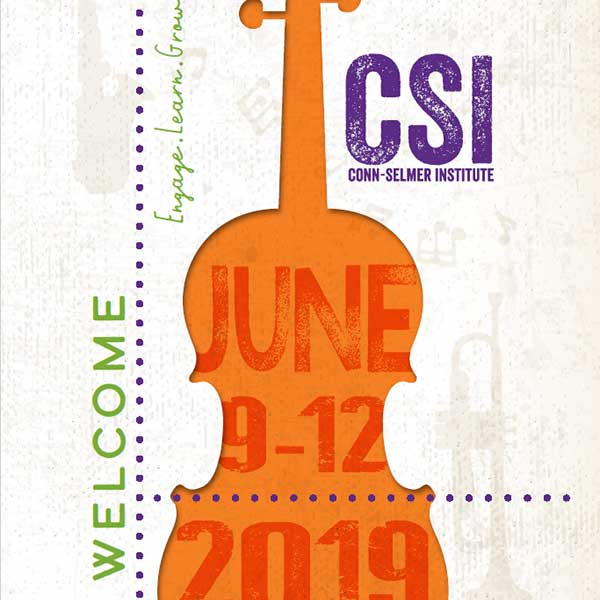 Conn-Selmer Institute 2019 brochure front cover.