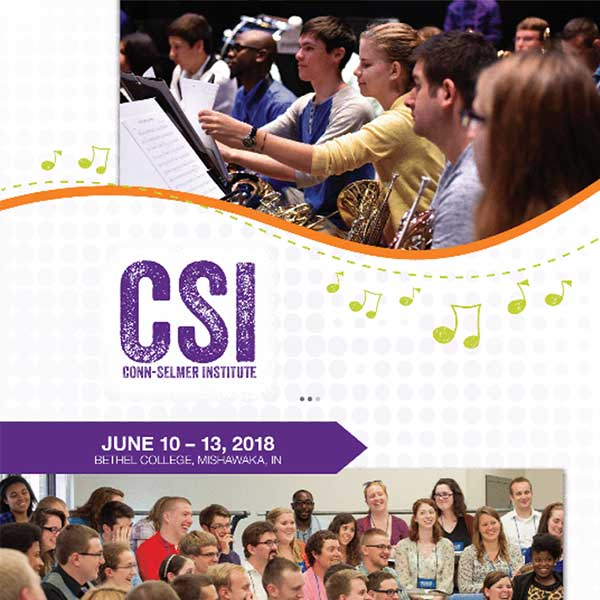 Conn-Selmer Institute 2018 brochure front cover.