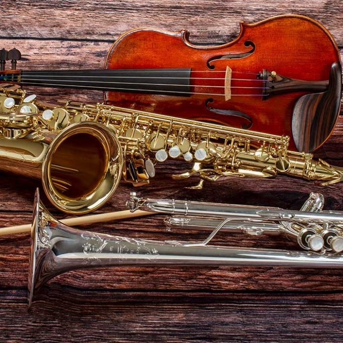 A trumpet, saxophone, and violin family shot of instruments.